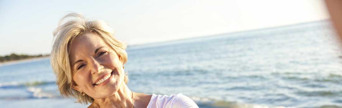elderly woman on the beach
