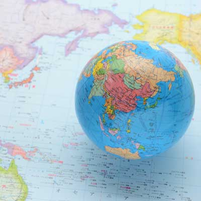 globe on a world map